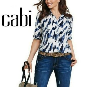 Cabi Sheer Blue White Collared Button Down Blouse